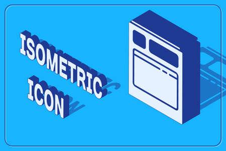 Isometric Kitchen dishwasher machine icon isolated on blue background. Vector Illustration.  イラスト・ベクター素材