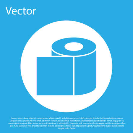 Blue Toilet paper roll icon isolated on blue background. White circle button. Vector Illustration.