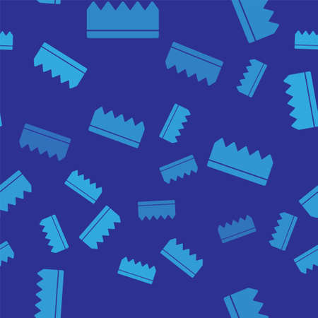 Blue Sponge with bubbles icon isolated seamless pattern on blue background. Wisp of bast for washing dishes. Cleaning service logo. Vector Illustration.