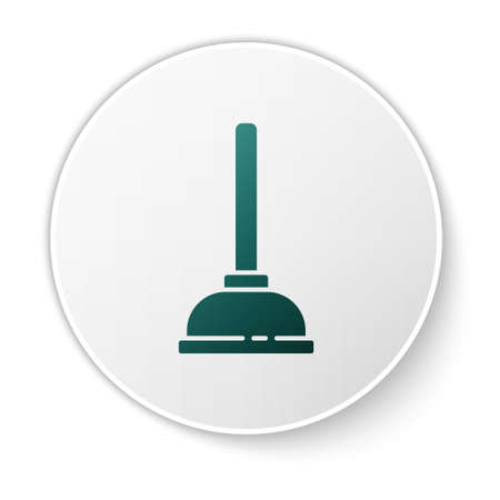 Green Rubber plunger with wooden handle for pipe cleaning icon isolated on white background. Toilet plunger. White circle button. Vector Illustration.