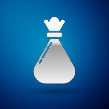 Silver Garbage bag icon isolated on blue background. Vector Illustration.