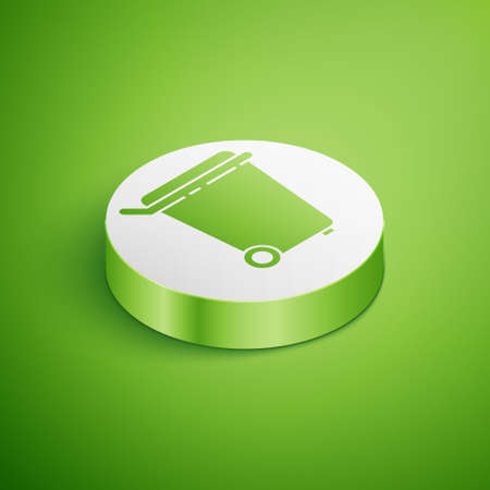Isometric Trash can icon isolated on green background. Garbage bin sign. Recycle basket icon. Office trash icon. White circle button. Vector Illustration.