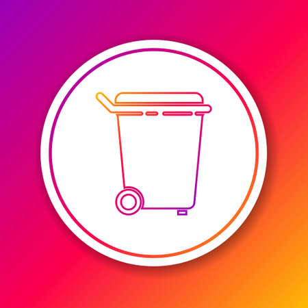 Color line Trash can icon isolated on color background. Garbage bin sign. Recycle basket icon. Office trash icon. Circle white button. Vector Illustration. Ilustrace