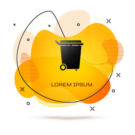 Black Trash can icon isolated on white background. Garbage bin sign. Recycle basket icon. Office trash icon. Abstract banner with liquid shapes. Vector Illustration.