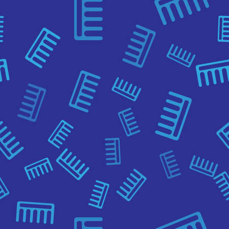 Blue Hairbrush icon isolated seamless pattern on blue background. Comb hair sign. Barber symbol. Vector Illustration.