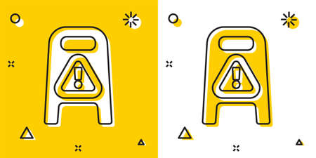 Black Wet floor and cleaning in progress icon isolated on yellow and white background. Cleaning service concept. Random dynamic shapes. Vector Illustration.