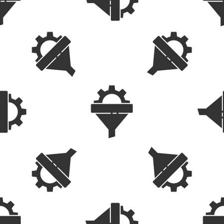 Grey Sales funnel with arrows for marketing and startup business icon isolated seamless pattern on white background. Infographic template. Vector Illustration.
