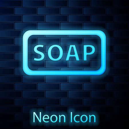 Glowing neon Bar of soap icon isolated on brick wall background. Soap bar with bubbles. Vector Illustration.