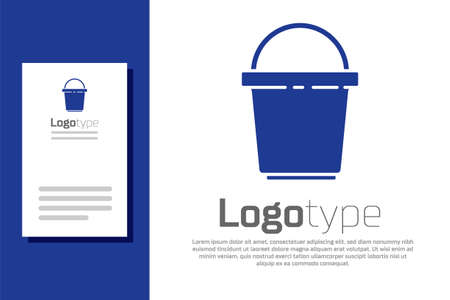 Blue Bucket icon isolated on white background. Cleaning service concept.
