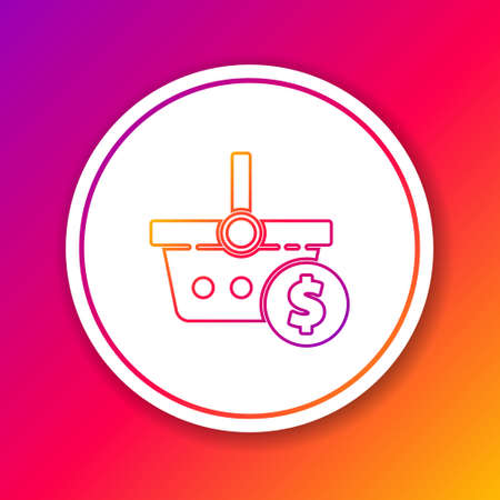 Color line Shopping basket and dollar symbol icon isolated on color background. Online buying concept. Delivery service. Shopping cart. Circle white button. Vector Illustration. Ilustrace