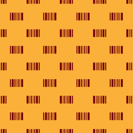 Red Barcode icon isolated seamless pattern on brown background. Vector Illustration.