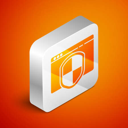 Isometric Browser with shield icon isolated on orange background. Security, safety, protection, privacy concept. Silver square button. Vector Illustration.