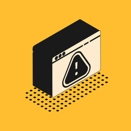 Isometric Browser with exclamation mark icon isolated on yellow background. Alert message smartphone notification. Vector Illustration.