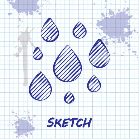 Sketch line Water drop icon isolated on white background.  Vector Illustration. Ilustracja