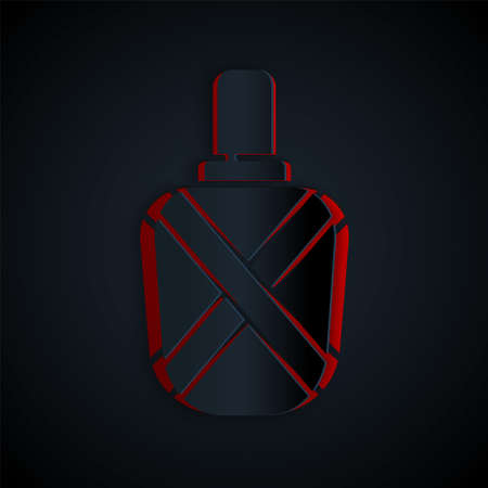 Paper cut Canteen water bottle icon isolated on black background. Tourist flask icon. Jar of water use in the campaign. Paper art style. Vector Illustration. Illusztráció