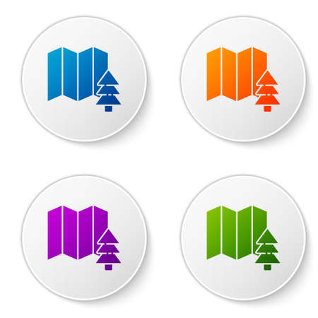 Color Location of the forest on a map icon isolated on white background. Set icons in circle buttons. Vector Illustration.