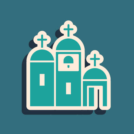 Green Church building icon isolated on green background. Christian Church. Religion of church. Long shadow style. Vector Illustration. Illustration