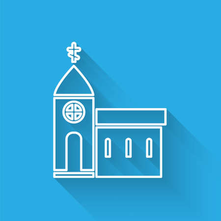 White line Church building icon isolated with long shadow. Christian Church. Religion of church. Vector Illustration.