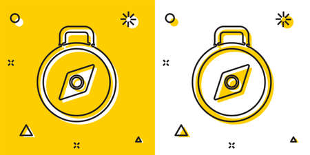 Black Compass icon isolated on yellow and white background. Windrose navigation symbol. Wind rose sign. Random dynamic shapes. Vector Illustration. Illustration