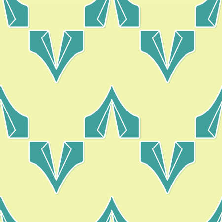 Green Tourist tent icon isolated seamless pattern on yellow background. Camping symbol. Vector Illustration. Çizim