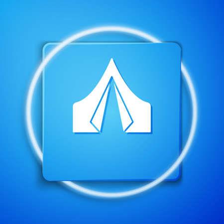 White Tourist tent icon isolated on blue background. Camping symbol. Blue square button. Vector Illustration. Çizim