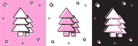 Set Tree icon isolated on pink and white, black background. Forest symbol. Vector Illustration. Иллюстрация