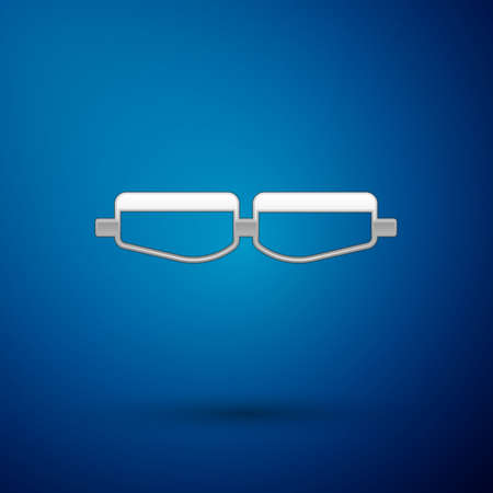 Silver Safety goggle glasses icon isolated on blue background. Vector Illustration.