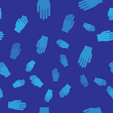 Blue Medical rubber gloves icon isolated seamless pattern on blue background. Protective rubber gloves. Vector Illustration.