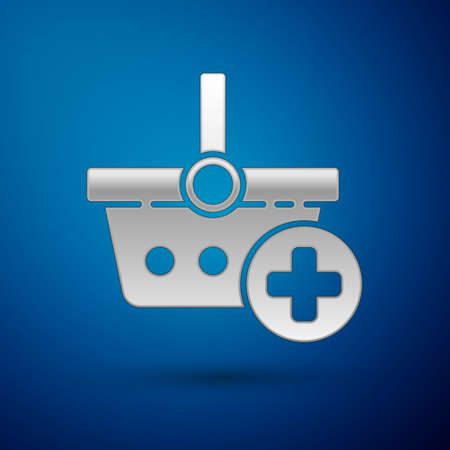 Silver Add to Shopping basket icon isolated on blue background. Online buying concept. Delivery service. Supermarket basket symbol. Vector Illustration.