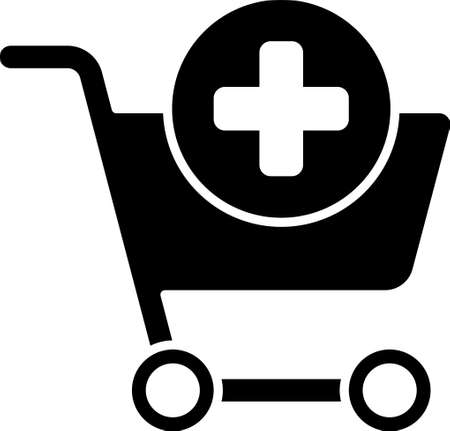 Black Add to Shopping cart icon isolated on white background. Online buying concept. Delivery service sign. Supermarket basket symbol. Vector Illustration. Ilustrace