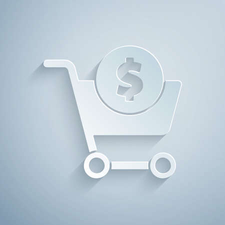 Paper cut Shopping cart and dollar symbol icon isolated on grey background. Online buying concept. Delivery service. Supermarket basket. Paper art style. Vector Illustration. Ilustrace