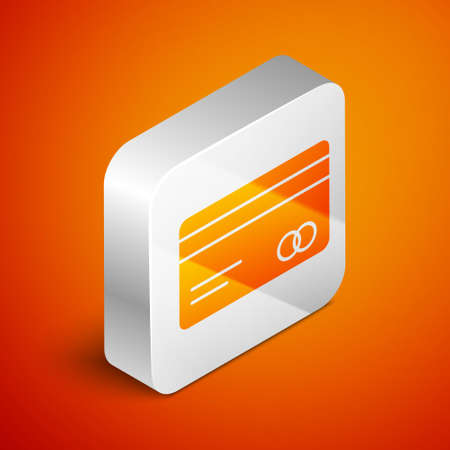 Isometric Credit card icon isolated on orange background. Online payment. Cash withdrawal. Financial operations. Shopping sign. Silver square button. Vector Illustration.