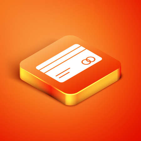 Isometric Credit card icon isolated on orange background. Online payment. Cash withdrawal. Financial operations. Shopping sign. Vector Illustration.