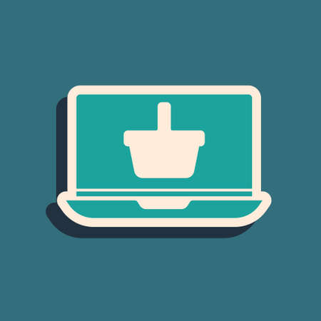 Green Shopping basket on screen laptop icon isolated on green background. Concept e-commerce, e-business, online business marketing. Long shadow style. Vector Illustration.