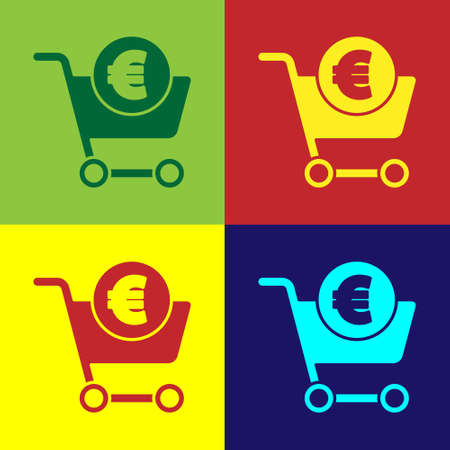 Pop art Shopping cart and euro symbol icon isolated on color background. Online buying concept. Delivery service. Shopping cart. Vector Illustration. Ilustrace