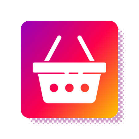 White Shopping basket icon isolated on white background. Online buying concept. Delivery service sign. Shopping cart symbol. Square color button. Vector Illustration. Ilustrace