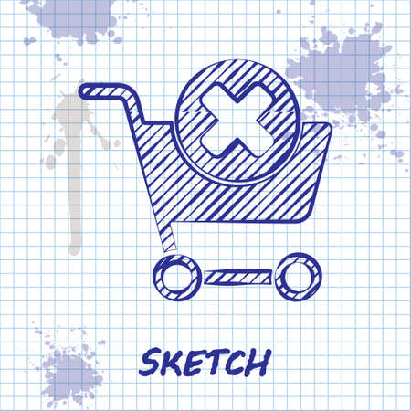 Sketch line Remove shopping cart icon isolated on white background. Online buying concept. Delivery service. Supermarket basket and X mark. Vector Illustration. Ilustrace