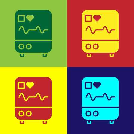 Pop art Computer monitor with cardiogram icon isolated on color background. Monitoring icon. ECG monitor with heart beat hand drawn. Vector Illustration.