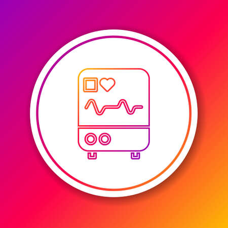Color line Computer monitor with cardiogram icon isolated on color background. Monitoring icon. ECG monitor with heart beat hand drawn. Circle white button. Vector Illustration.