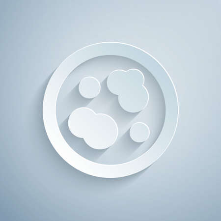 Paper cut Petri dish with bacteria icon isolated on grey background. Paper art style. Vector Illustration.