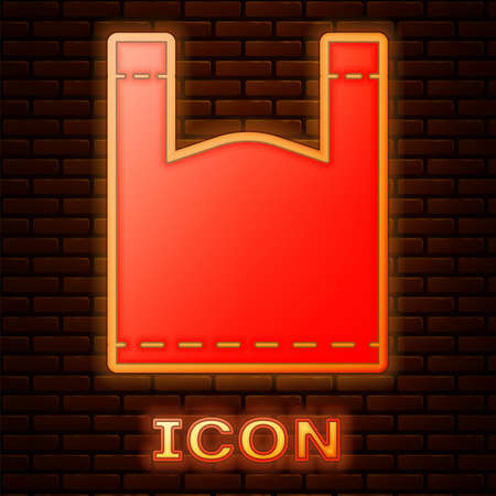 Glowing neon Plastic bag icon isolated on brick wall background. Disposable cellophane and polythene package prohibition sign. Vector Illustration. Illusztráció