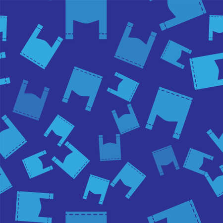 Blue Plastic bag icon isolated seamless pattern on blue background. Disposable cellophane and polythene package prohibition sign. Vector Illustration.