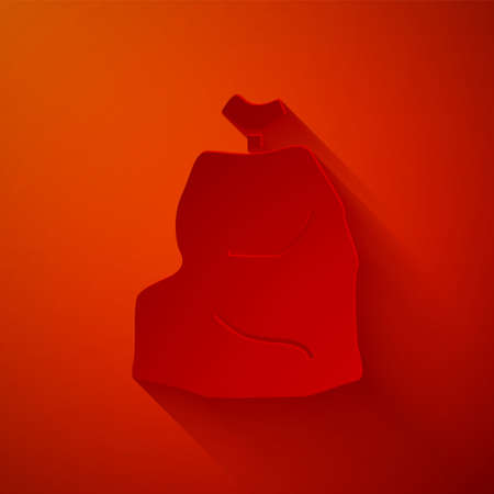 Paper cut Garbage bag icon isolated on red background. Paper art style. Vector Illustration. Illusztráció