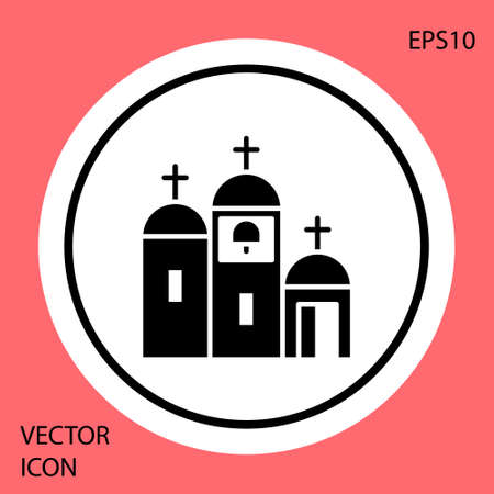Black Church building icon isolated on red background. Christian Church. Religion of church. White circle button. Vector Illustration.