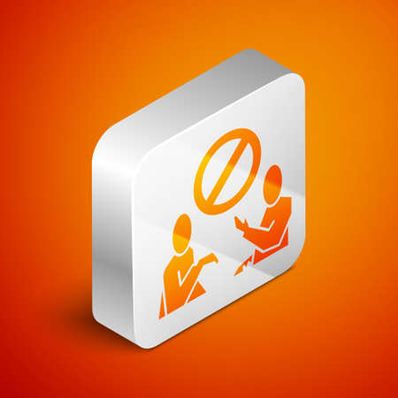 Isometric Stop plastic pollution icon isolated on orange background. Ecological poster. Silver square button. Vector Illustration.
