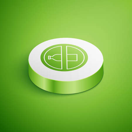 Isometric No plastic bottle icon isolated on green background. White circle button. Vector Illustration.