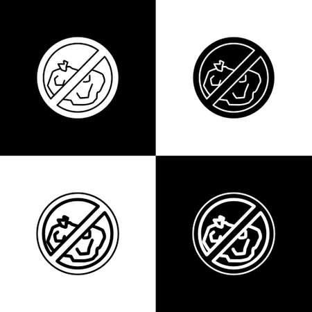 Set No trash icon isolated on black and white background. Vector Illustration.