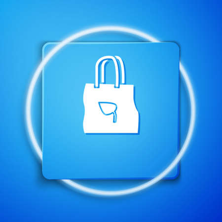 White Paper shopping bag with recycle icon isolated on blue background. Bag with recycling symbol. Blue square button. Vector Illustration. Illusztráció