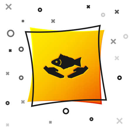 Black Fish care icon isolated on white background. Yellow square button. Vector Illustration. Ilustrace