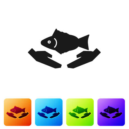 Black Fish care icon isolated on white background. Set icons in color square buttons. Vector Illustration.